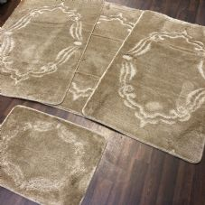 ROMANY WASHABLES GYPSY MATS 4PC SETS NON SLIP FRAME DESIGN BEIGE LUXURY RUGS